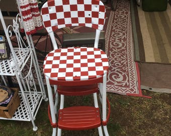 1950's vintage Kitchen Chair with pull out step, Checkered chair, Metal Chair,