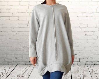 Flattering Asymmetric Gray Dress Tunic, Loose Alternative Dress, Maxi Urban Tunic, Oversized Balloon Tunic, Clubwear