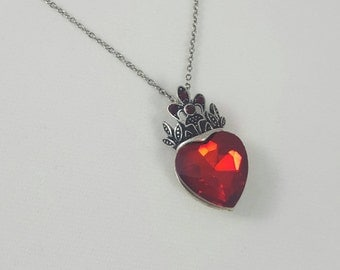 Queen of Hearts Necklace, Evil Queen, Antique Silver Crown and Faux Ruby Pendant, Alice in Wonderland Jewelry