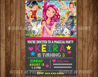 Mia and Me Birthday Invitation, Printable Mia and Me invitation, Mia and Me chalkboard  invitation