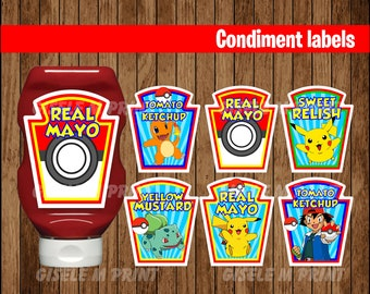 Pokemon Condiments Label, Printable Pokemon Condiments Label, Pokemon party Condiments Label instant download