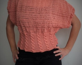 Short Sleeve Knit Sweater, Salmon colour, Hand knit, Kid Mohair, Merino, Silk,  Loose knit,  Hand Knitted Sweater