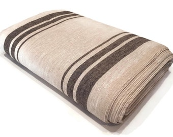 100% Linen Fabric by The Yard, Beige Striped Linen Fabric, Dark Striped Linen Fabric, Fabric by Yard, Fabric for Towels, Fabric for Dishrags