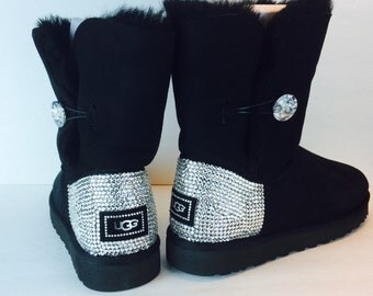 Black UGG Bailey Button Bling Boots with Swarovski Crystals