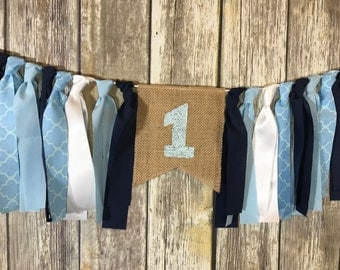 First Birthday Banner Boy, Navy Blue Birthday Banner, High Chair Banner