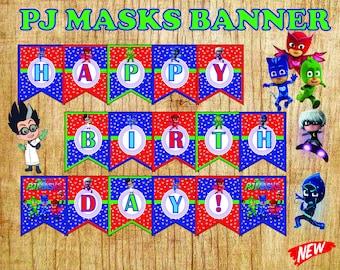 pj masks banner, pj masks birthday, birthday banner,  pj masks party, pj masks,pj masks party favor, birthday banner, pj masks sign, pj mask