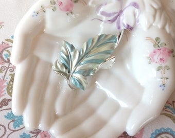 Vintage Sterling Silver Blue and White Painted Leaf Brooch