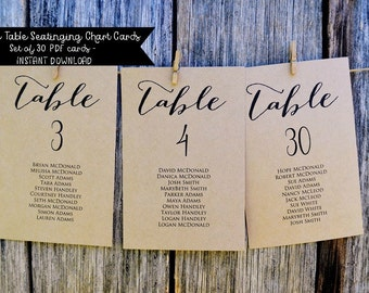 Wedding Seating Chart Template, Wedding Seating Chart Printable, Wedding Seating Plan, Seating Cards, Instant Download, Printable PDF