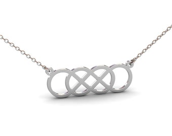 Double Infinity Necklace in Sterling Silver Metal, Silver Infinity Necklace, Dainty Infinity Necklace, Infinity Jewelry, Christmas Gift
