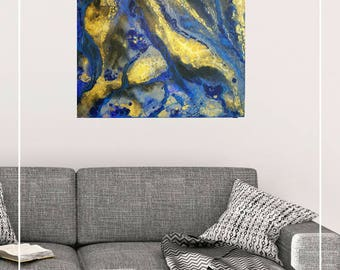 "Fluid Abstract painting with resin coat, blue, gold, black 20"" x 20"""