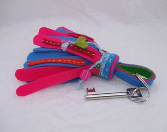 colorful Keychain, bag decoration of felt with bells