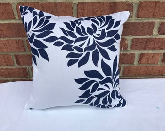 White with Blue Flowers Pillow cover.