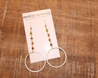 Gold Hoop Rosary Chain Earrings