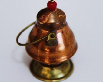 Miniature Pedestal Copper Pot With Movable Handle , Mini Pot