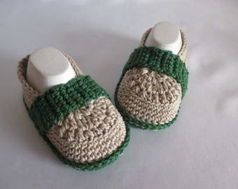 Baby shoes of loafers slippers selfmade Brown/sand/green cotton approx. 11.5 cm foot approx. gr. 18/19