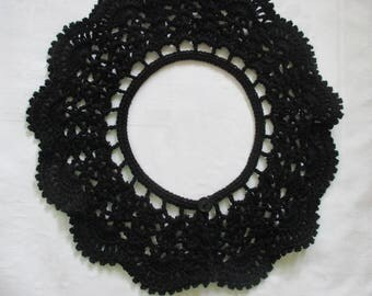 Crochet collar lace Peter Pan collar BLACK black cotton crochet selfmade collar