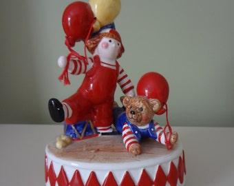 Music Box Schmid Porcelain Clown and Bear Circus Music Box