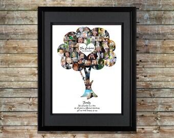 Family Tree Photo Collage - Family Tree Wall Art - Family Tree Collage - Family Tree Print - Family Tree Art - Family Tree Shape