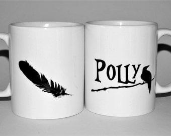 Raven Mug mug personalised gift for her Raven mug Mother's Day gift Feather mug Crow mug