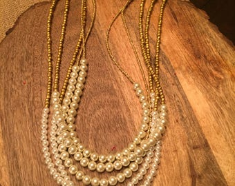 Pearl multi-strand beaded necklace