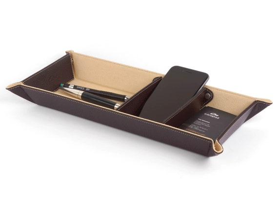 Desk organizer leather catchall office tray desk tray - Leather desk organizer set ...
