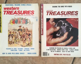 Western TREASURES and Eastern Treasures Vintage Magazines (1976) Sharing The Home With Rocks Issue & Bicentennial Treasure Stories Special