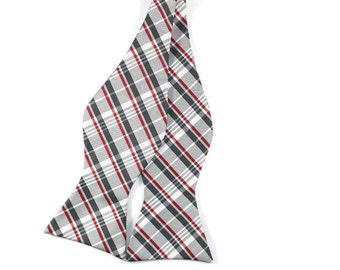 Scarlet and Gray Plaid Silk Bow Tie