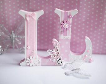 Girl's Handmade Personalised Flower Freestanding Wooden Letters Room Decor Gift