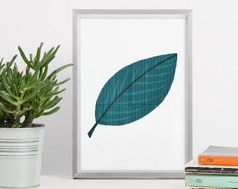 Leaf Printable Art - DIN A4 - Plant Leaf Art Print - Gift for Her - Nature Artwork - Leaf Print - Gift for Boss Woman - Leaf Poster