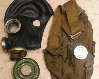 Halloween Soviet gas mask PMG - 2 GP-5M USSR era 1986 Soviet Union Military Gas. Size Large (3). With Filter and Original Bag.