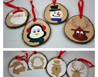 DIY Christmas Craft Project - DIY Christmas Ornament Craft Kit / Gift Tag Craft Kit - Wood Painting Kit - Set of 4 - At the North Pole