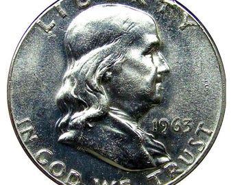 1963 Franklin Half Dollar - BU / MS / Unc - Luster
