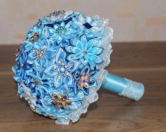 Brooch bouquet, brooch bouquet set. Wedding brooch bouquet blue, blue wedding