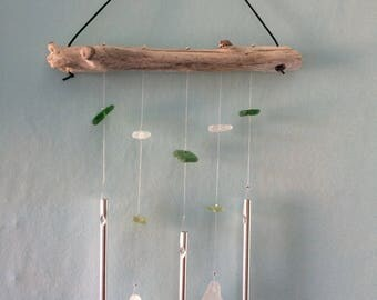 Unique Hand Drilled One-off Sea Glass and Driftwood Wind Chime Sun Catcher Mobile