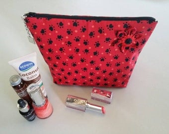 Cosmetic Bag / Paw Print / Cat / Dog /  Makeup Bag / Zippered Pouch / Purse / Makeup Case / Animal Pouch / Animal Print / Bag