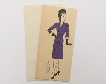 Greetings Card made from upcycling a 1942 Vogue Pattern Book Suppliment