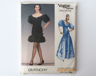 B34 1980s Coctail Dress Sewing Pattern : Vogue Paris Original Givenchy 1993