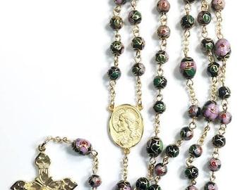 Black Cloisonne' Vermeil/GF Rosary