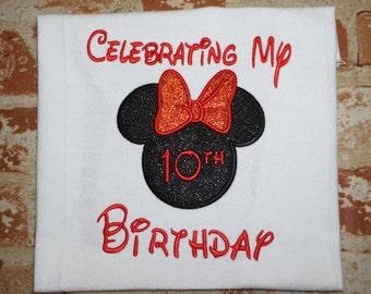 Celebrating minnie/minnie birthday shirt/ Disney birthday shirt/minnie mouse birthday shirt, minnie mouse bow