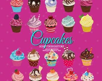 Cupcake clipart, cupcake printable, cupcake vector, frosted cupcake, cupcake art,  desert clipart, sweet treats clipart, commercial clipart