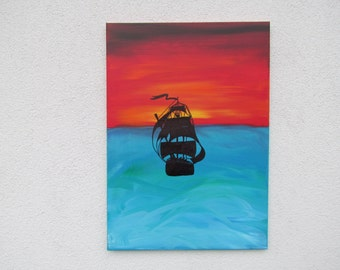 Abstract acrylic painting 50 x 70 cm (B100053) pirate ship