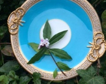Luxury Turquoise and gilt porcelain serving plate with gilt bow design