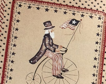 Vintage Daisy Kingdom Uncle Sam country fabric  cut outs