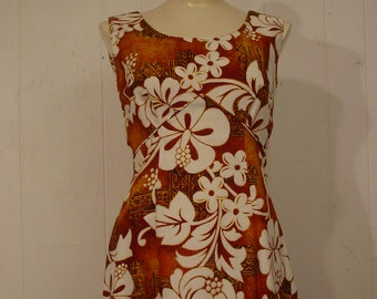 Vintage Dress, 1960s Hawaiian dress, Tiki dress, Royal Hawaiian, made in Hawaii, Medium, NOS