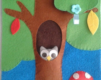 Forest activity, educational book, interactive book, silent book, quiet book, book of felt, Quiet Book, Busy Book