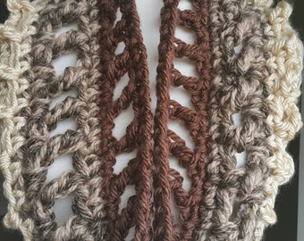 Chocolate color winter ombre cowl.