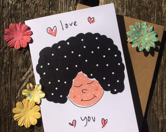 Cute Valentine - Valentine Card - Love You Card - Funny Card -  Afro Card - A6 Greeting Card - Polka Dot Card - Cute Card - Valentine's Day