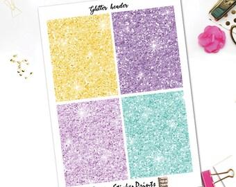 Lemonade Glitter Header Stickers/Purple Yellow Mint Glitter Headers for Erin Condren Lifeplanner/Glitter Sticker/Glitter Header/