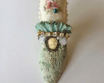Gorgeous Vintage 1800's Miniature Shoe Pin Cushion, Christmas Present, Gift