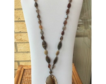 Coffee coloured large agate pendant necklace, long necklace, agate necklace, brown necklace, statement necklace, semi precious stones